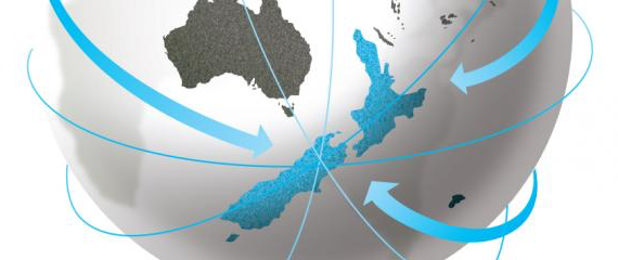Graphic of a globe showing the southern hemisphere in close-up with arrows pointing at a outsized New Zealand.